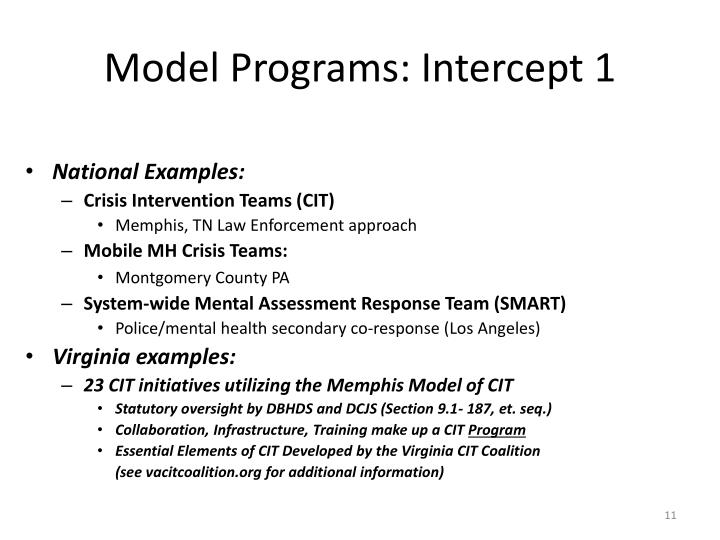 Model Programs: Intercept 1