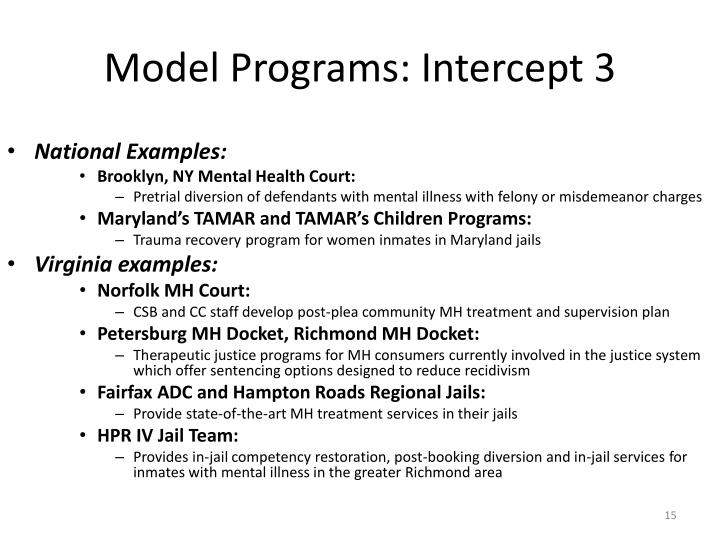 Model Programs: Intercept 3