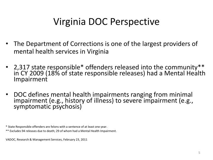 Virginia DOC Perspective