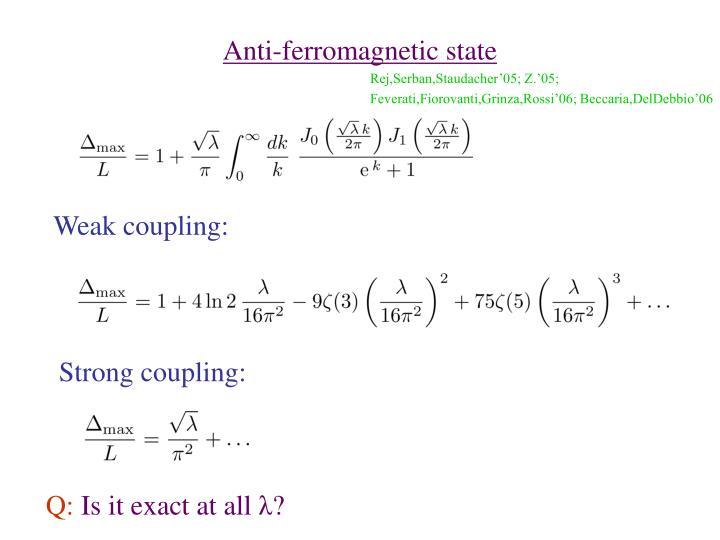 Anti-ferromagnetic state