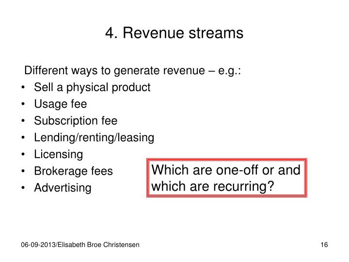4. Revenue streams