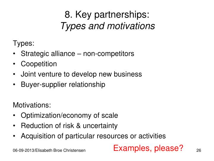 8. Key partnerships: