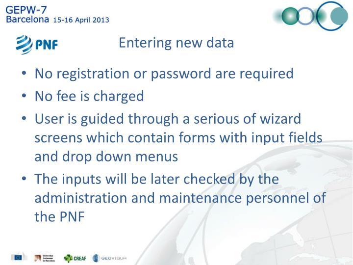 Entering new data