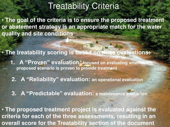 Treatability Criteria