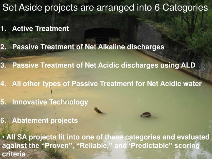 Set Aside projects are arranged into 6 Categories