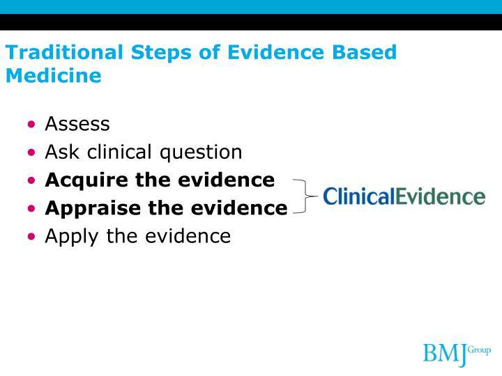 Traditional Steps of Evidence Based Medicine