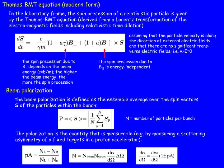 Thomas-BMT equation (modern form)
