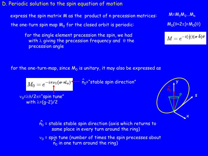 D. Periodic solution to the spin equation of motion
