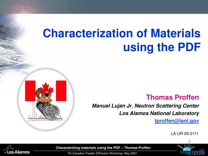 Characterization of materials using the pdf