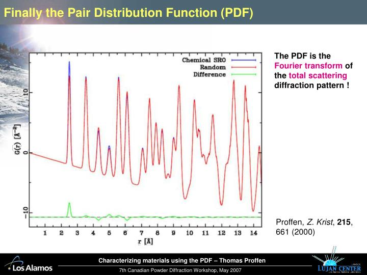 Finally the Pair Distribution Function (PDF)