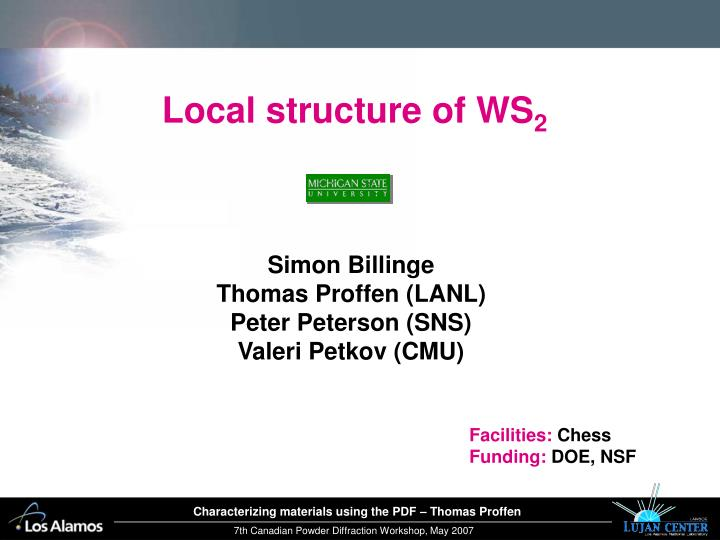 Local structure of WS