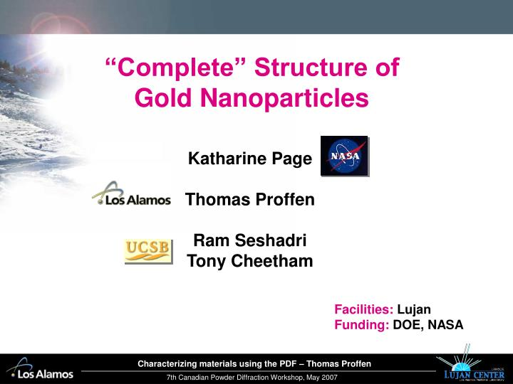 """Complete"" Structure of Gold Nanoparticles"