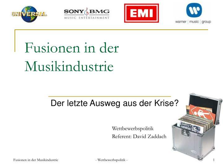 Fusionen in der Musikindustrie