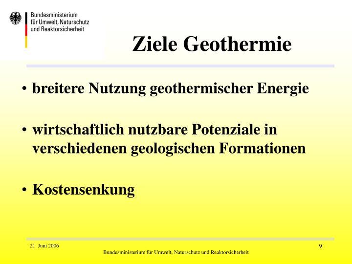 Ziele Geothermie