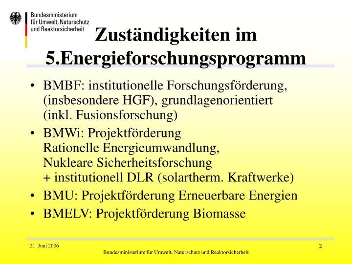 Zuständigkeiten im 5.Energieforschungsprogramm