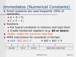 immediates numerical constants