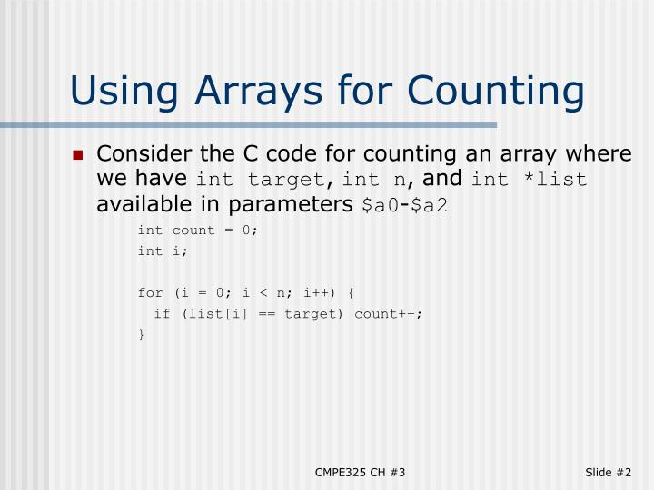 Using arrays for counting