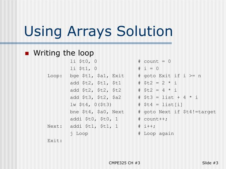 Using arrays solution