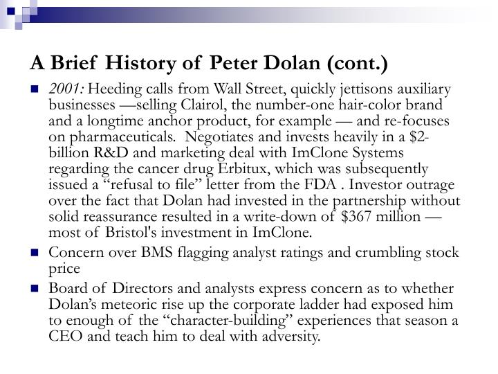 A Brief History of Peter Dolan (cont.)