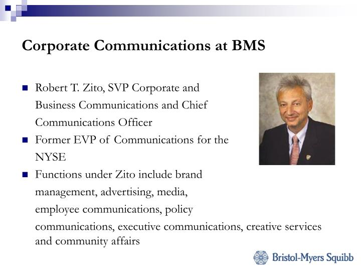 Corporate Communications at BMS