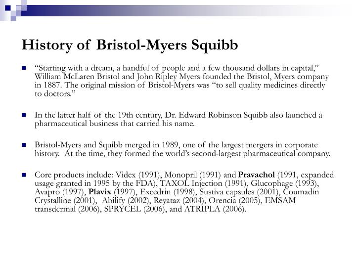 History of Bristol-Myers Squibb