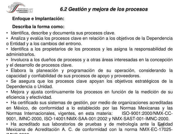 6.2 Gestión y mejora de los procesos