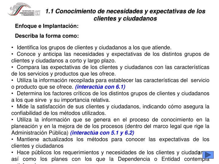 1.1 Conocimiento de necesidades y expectativas de los clientes y ciudadanos