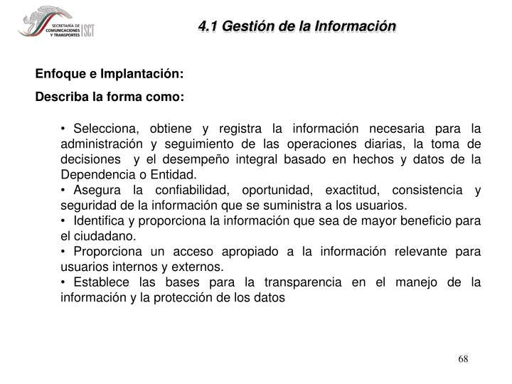 4.1 Gestión de la Información