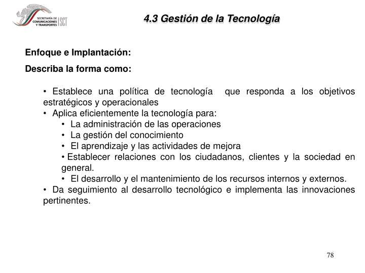 4.3 Gestión de la Tecnología