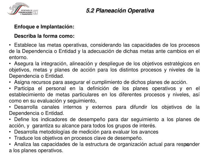 5.2 Planeación Operativa