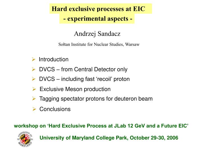 Hard exclusive processes at EIC