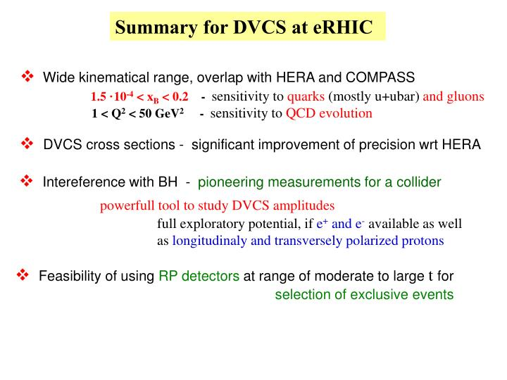 Summary for DVCS at eRHIC