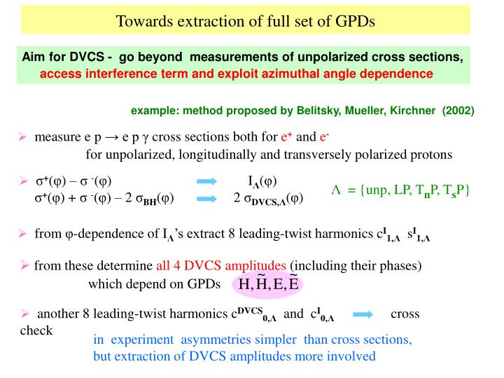Towards extraction of full set of gpds