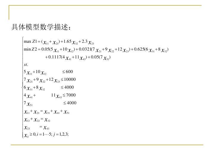 具体模型数学描述: