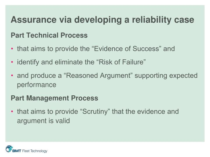 Assurance via developing a reliability case