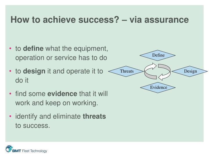 How to achieve success? – via assurance