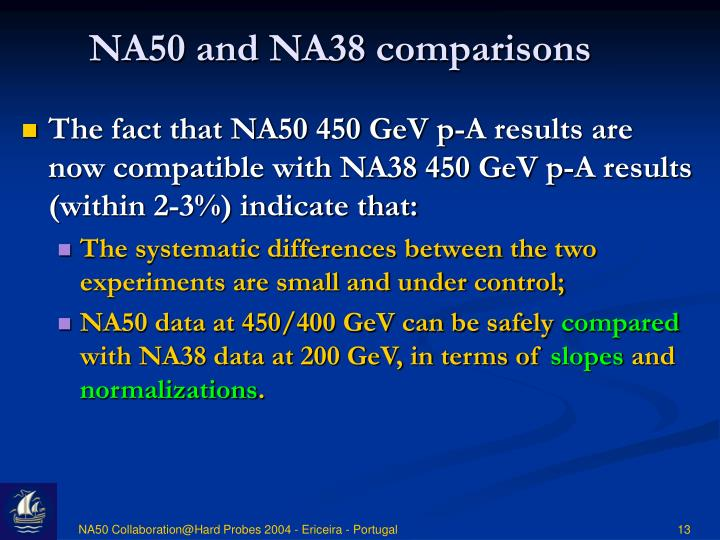 NA50 and NA38 comparisons