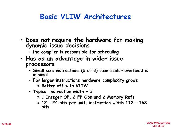 Basic VLIW Architectures