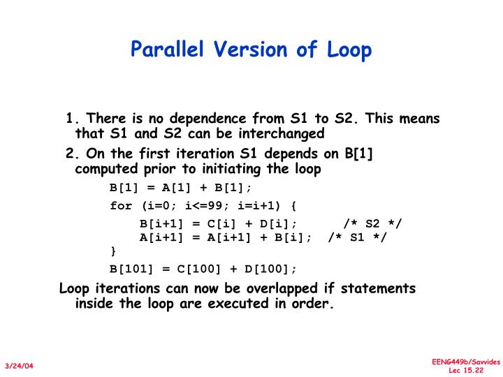 Parallel Version of Loop