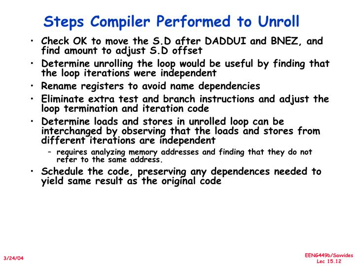 Steps Compiler Performed to Unroll