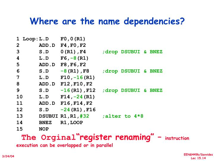 Where are the name dependencies?