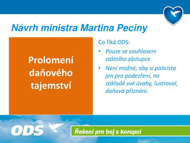 Návrh ministra Martina Peciny