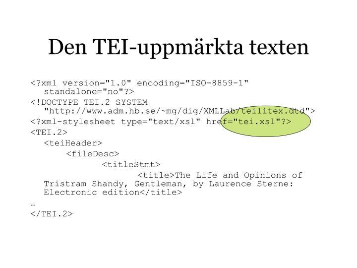 Den TEI-uppmärkta texten