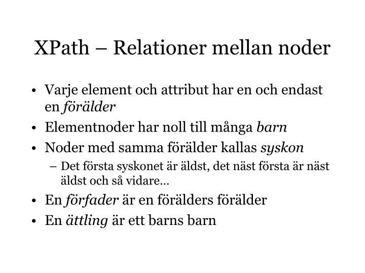 XPath – Relationer mellan noder