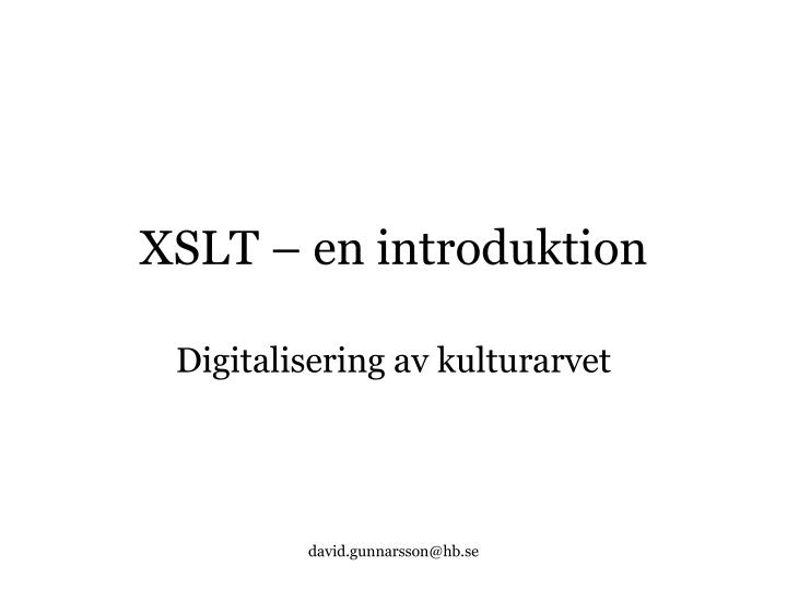 XSLT – en introduktion