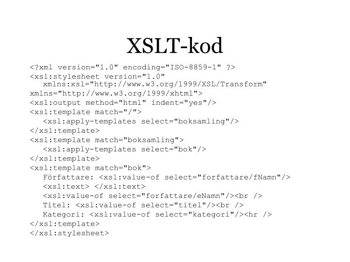 XSLT-kod