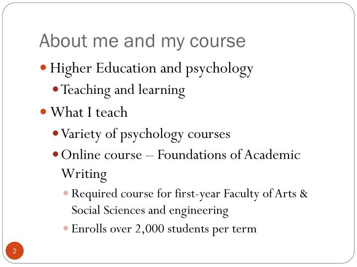 About me and my course