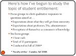 here s how i ve begun to study the topic of student entitlement