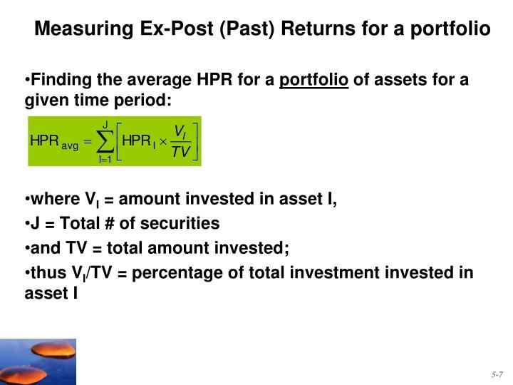 Measuring Ex-Post (Past) Returns for a portfolio