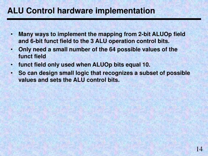 ALU Control hardware implementation